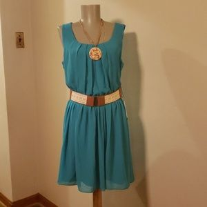 BCX teal pleated dress.  Size Lrge